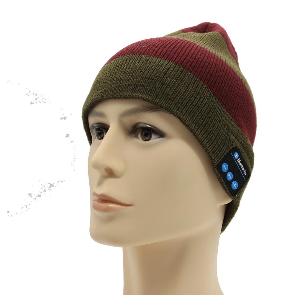 5643606a2ea 2019 2018 Men S Skullies Hat Bonnet Winter Beanie Knitted Hat Plus Velvet  Cap Wireless Smart Bluetooth Sports Beanies Hats For Men From Kupaoliu