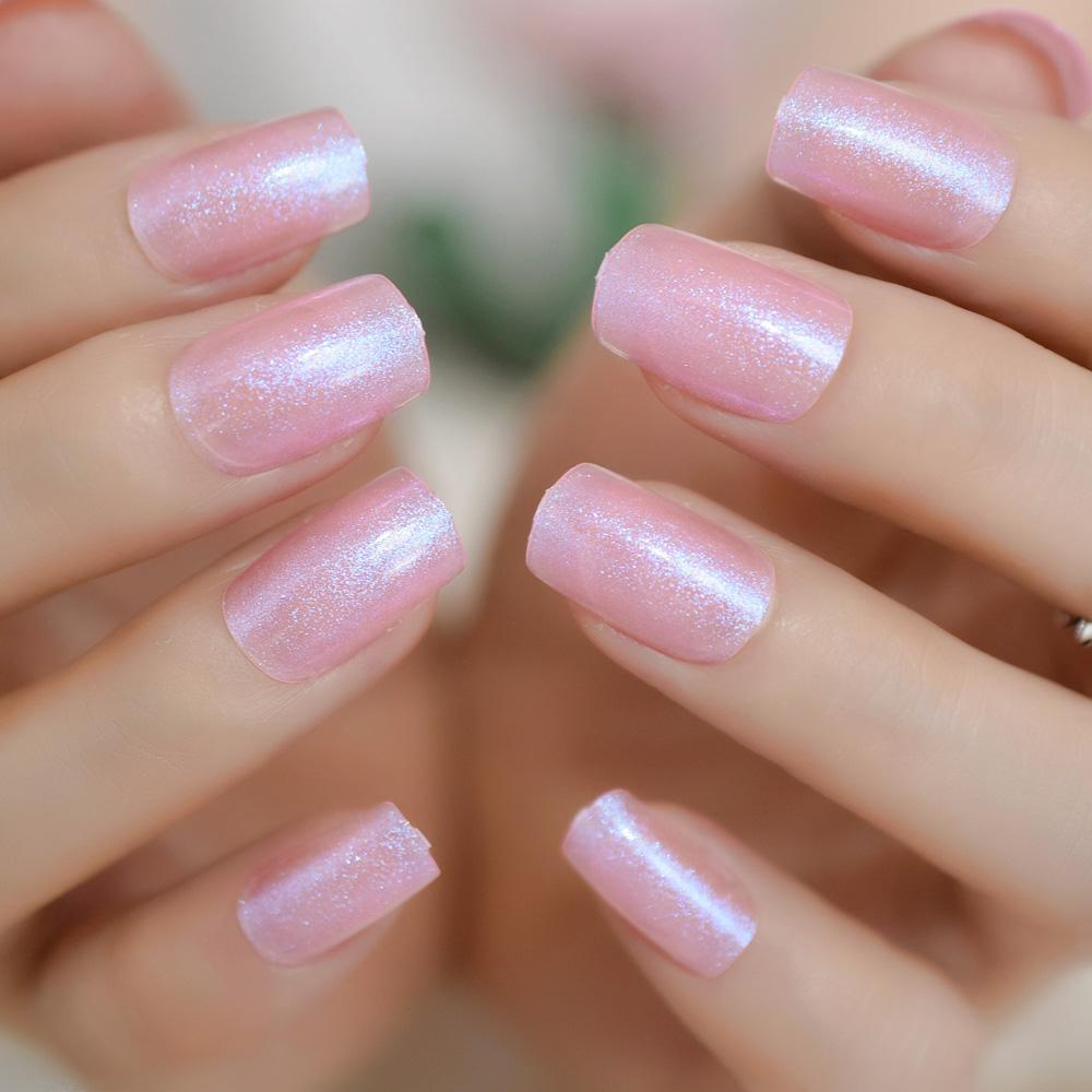 Glitter Square Nails Hot Pink Uv Gel Nails Purple Shiny Transparent