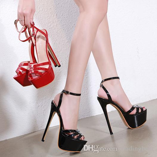 sexy red patent leather PU prom gown dress shoes 17cm ultra high heels platform designer shoes size 34 to 40 tradingbear