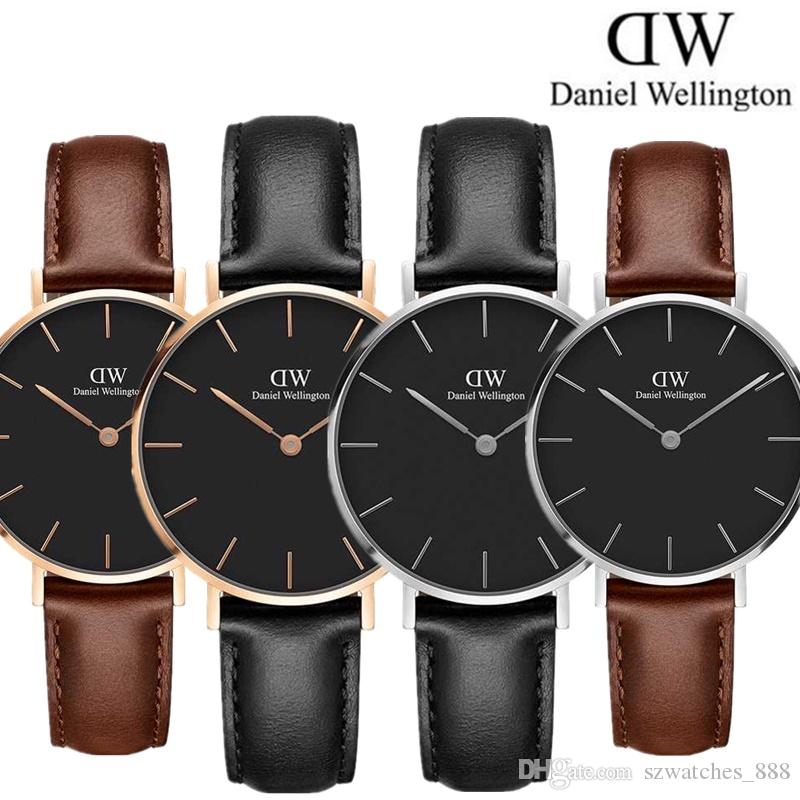 25d21cf3f Mens Daniel Wellington DW Luxury Watches 40MM New Arrival Quartz Watch Male Black  Leather Sport Clock Men Orologio Montre With Original Box Best Wrist Watch  ...