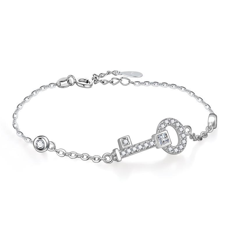 5944a35eaff67 Acheter Nouveau Dainty Clé Bracelet Pour Les Femmes 100% 925 Argent  Sterling Cubique Zircone Charme Bracelets Bracelets Femme De Mariage Argent  Bijoux De ...