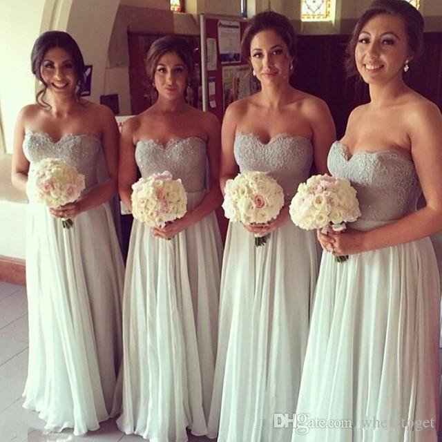New A-Line Bridesmaid Dress Strapless Sweetheart Sleeveless Floor Length Lace Appliques Beads Chiffon Prom Wedding Guests Formal Gowns