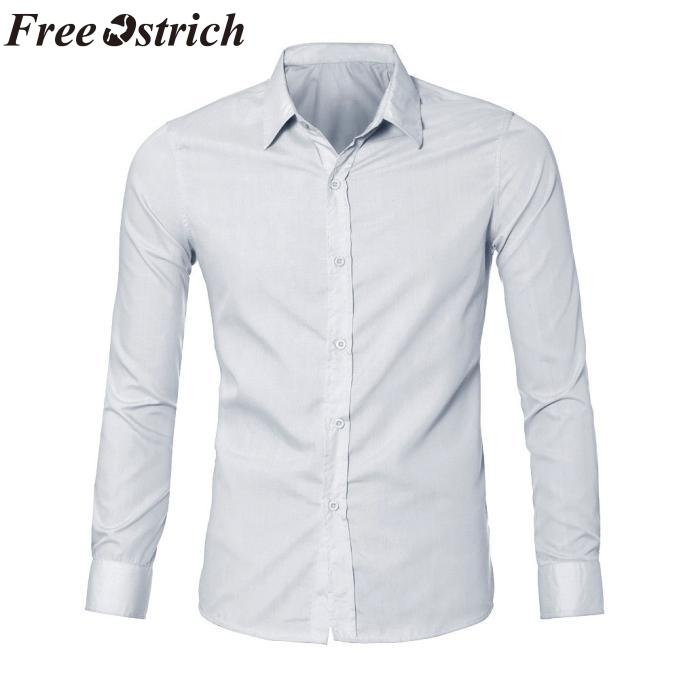 1691d7de7fa1 OSTRICH GRATIS Para Hombre de Lujo Elegante Vestido Casual Camisas Slim Fit  Casual Manga Larga Otoño Camisas Oficina Ropa de Moda