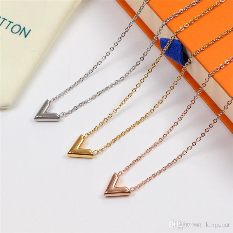 Cubic L Pendant Unisex Necklaces INS Fashion Personality Design Couple Brand Necklaces Birthday Gifts For Men Women Classic Necklace