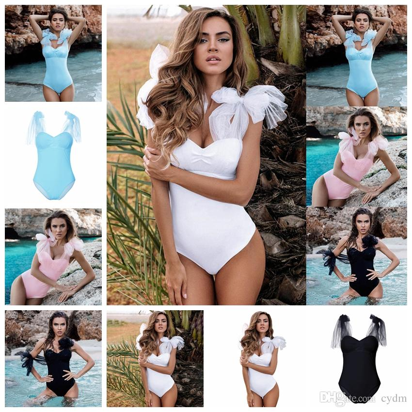 dd9220a15d 2019 European Solid Color Sexy V Neck Sleeveless Mesh Transparent Swimsuit  White