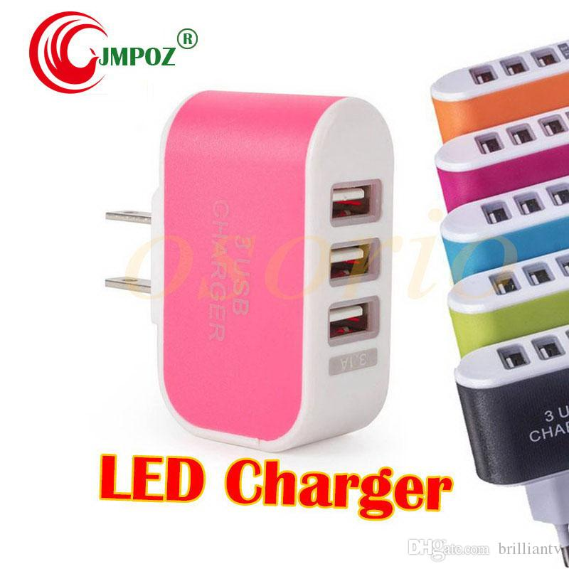 US EU Plug 3 USB Wall Chargers 5V 3.1A LED Adapter Travel Convenient Power Adaptor with triple USB Ports For Mobile Phone ( 5 colors )