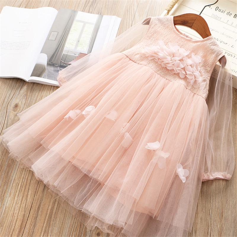 0-6 years High quality girl dress 2019 spring fashion cute l flower full sleeves kid children clothing princess girl dresses