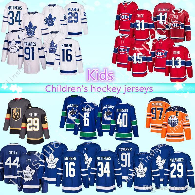 buy online 49189 85b8c Children's hockey jersey Toronto maple leafs Montréal Canadiens Vancouver  Canucks Edmonton Oilers 97 Connor McDavid kids hockey Jerseys