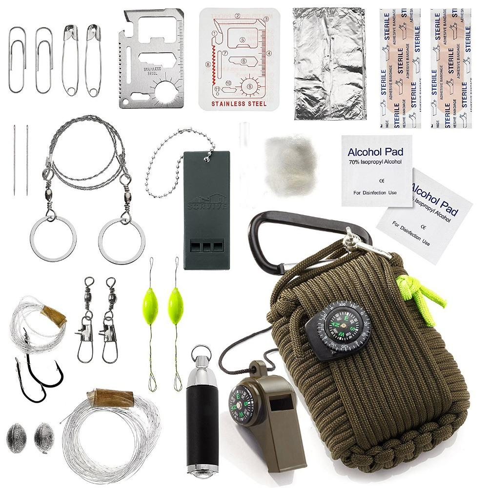 1 Set Outdoor Emergency Equipment SOS Kit Paracord First Aid Box Supplies Field Self-help Box For Camping Travel Fishing Kit