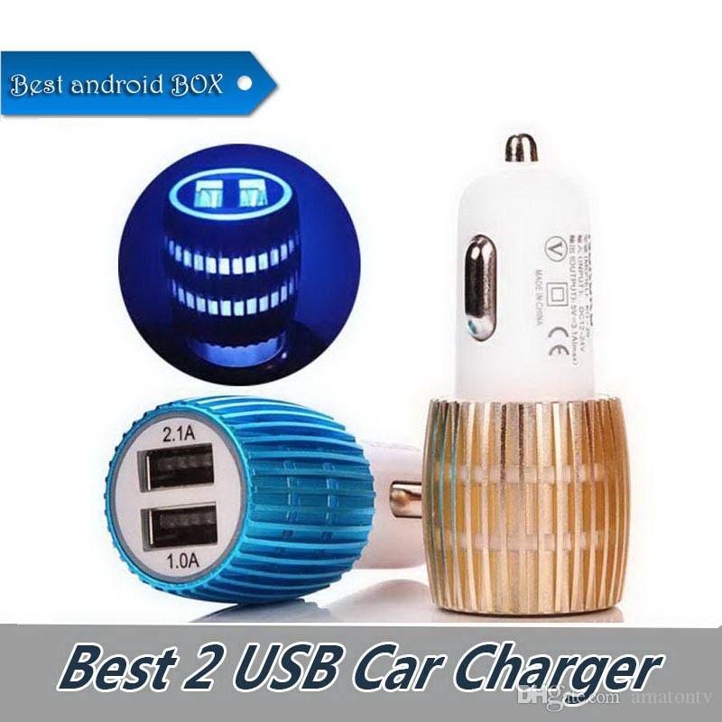 Universal Dual USB Car Charger With Blue Light LED 3.1A Aluminium Alloy 2 USB Car Charger LED Lighting For Cell Phone Table PC