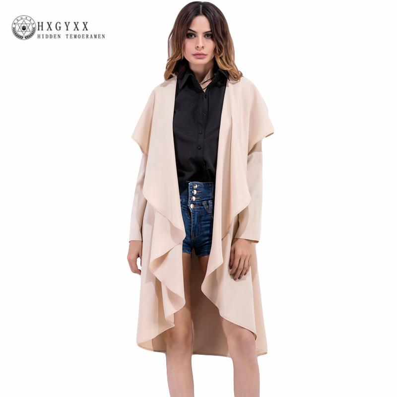favorable price special selection of good out x 2018 Fashion Trench Coat for Women Plus Size Spring Summer Solid Color  Irregular Ruffles Female Coat Long Thin Cardigan OL07