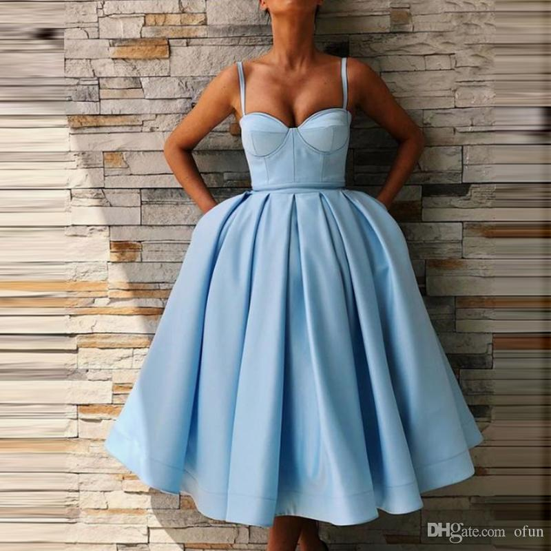 65b07600cc7 Cute Sweetheart Satin Blue Cocktail Dress Cheap Spaghetti Strap Tea Length  A Line Short Prom Party Dresses With Pockets Aqua Cocktail Dresses Beach  Cocktail ...