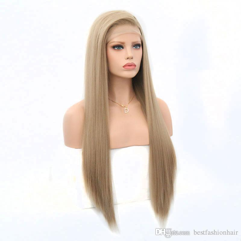 Blonde Lace Front Wigs With Baby Hair Side Part Heat Resistant Fiber Long Straight Lacefront Blonde Synthetic Wig For White Women
