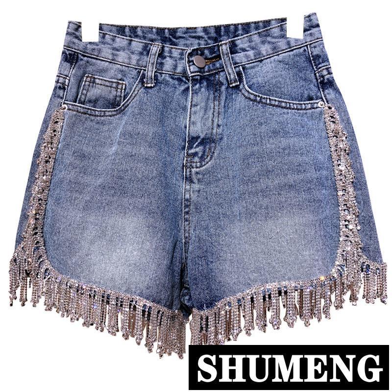 dd6588ea 2019 New Rhinestone Fringed High Waist Denim Shorts Super Flash Wimen s  High-end Diamond Tassel Short Jeans Hot Pants