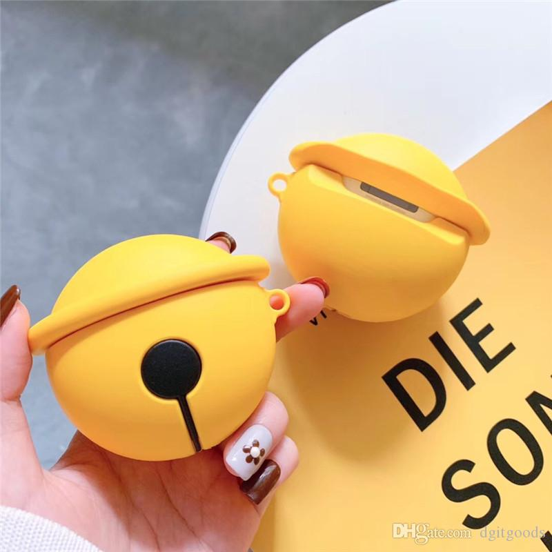 Cartoon Bell Silicone Case Anti-fall Set for Apple AirPods 2 Generation Wireless Bluetooth Headset Charging Box Storage Protective Cover