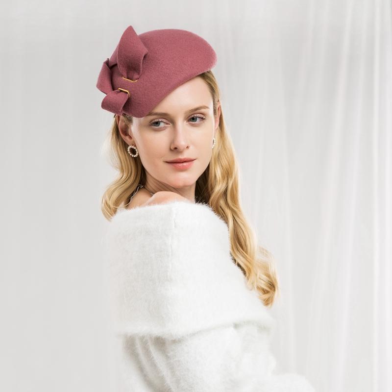 Lady New Fashion Winter Fedoras Cap Women Elegant Wedding Dress Hat ... afb9c84e43df