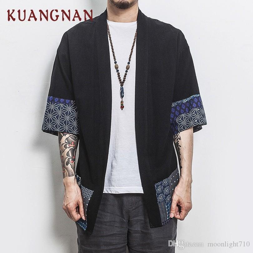 2aa6e2be 2019 KUANGNAN Chinese Style Kimono Men Shirt Half Sleeve Casual Streetwear Men  Shirt Man Linen Kimono Shirt Men Clothes 2018 New From Moonlight710, ...