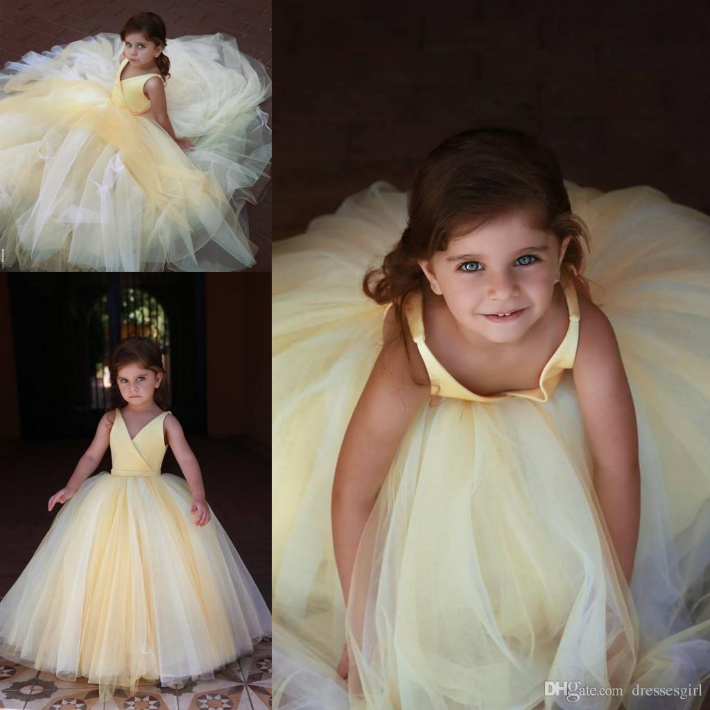 a58bf4b5e 2019 muchachas amarillas lindas de la flor viste las capas encantadoras  puffy vestido de bola por encargo desgaste formal de los niños