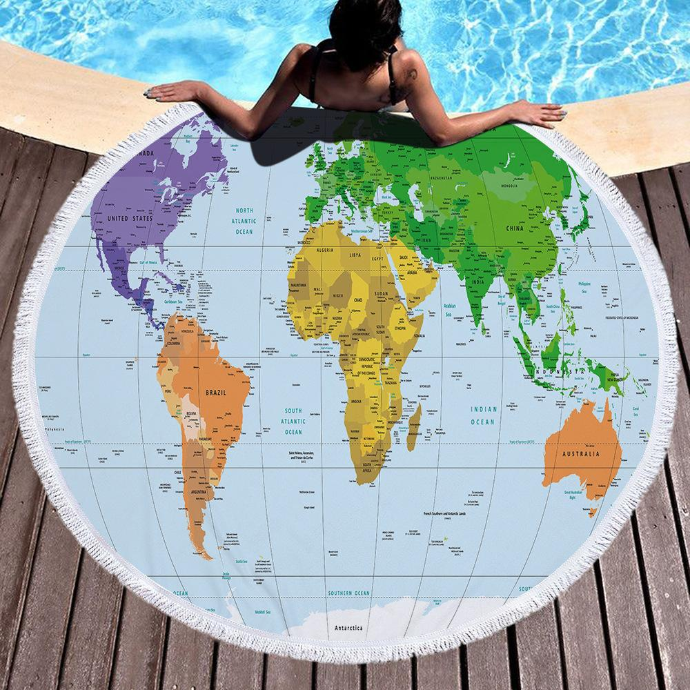 Beach towel blanket bath towel A towels wrapped after swimming World Map Earth Microfiber Print Round with Tassel 150cm Thickening
