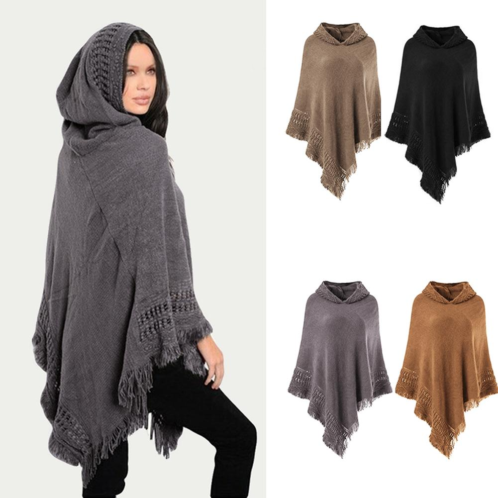 263d966ed 2019 Women Knit Batwing Top Poncho Hoodie Cape Cardigan Tassels Warm Coat  Pullover Loose Sweater Outwear One Size,Black From Sweatcloth, $20.48 |  DHgate.Com