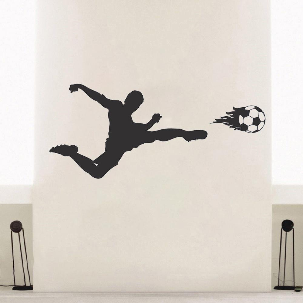 Football Player Vinyl Wall Sticker Applique Boy Bedroom Sports Fan Poster Vinyl Residential Decoration Modern