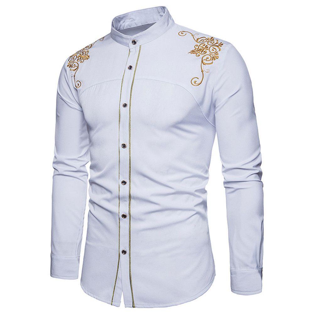 f90baa8e8ce Compre Buena Calidad Algodón Camisa De Hombre Para Hombre Hipster Fit Camisa  De Hombre Botón De Manga Larga Bordado Abajo Camisas De Vestir Tops Ropa De  ...