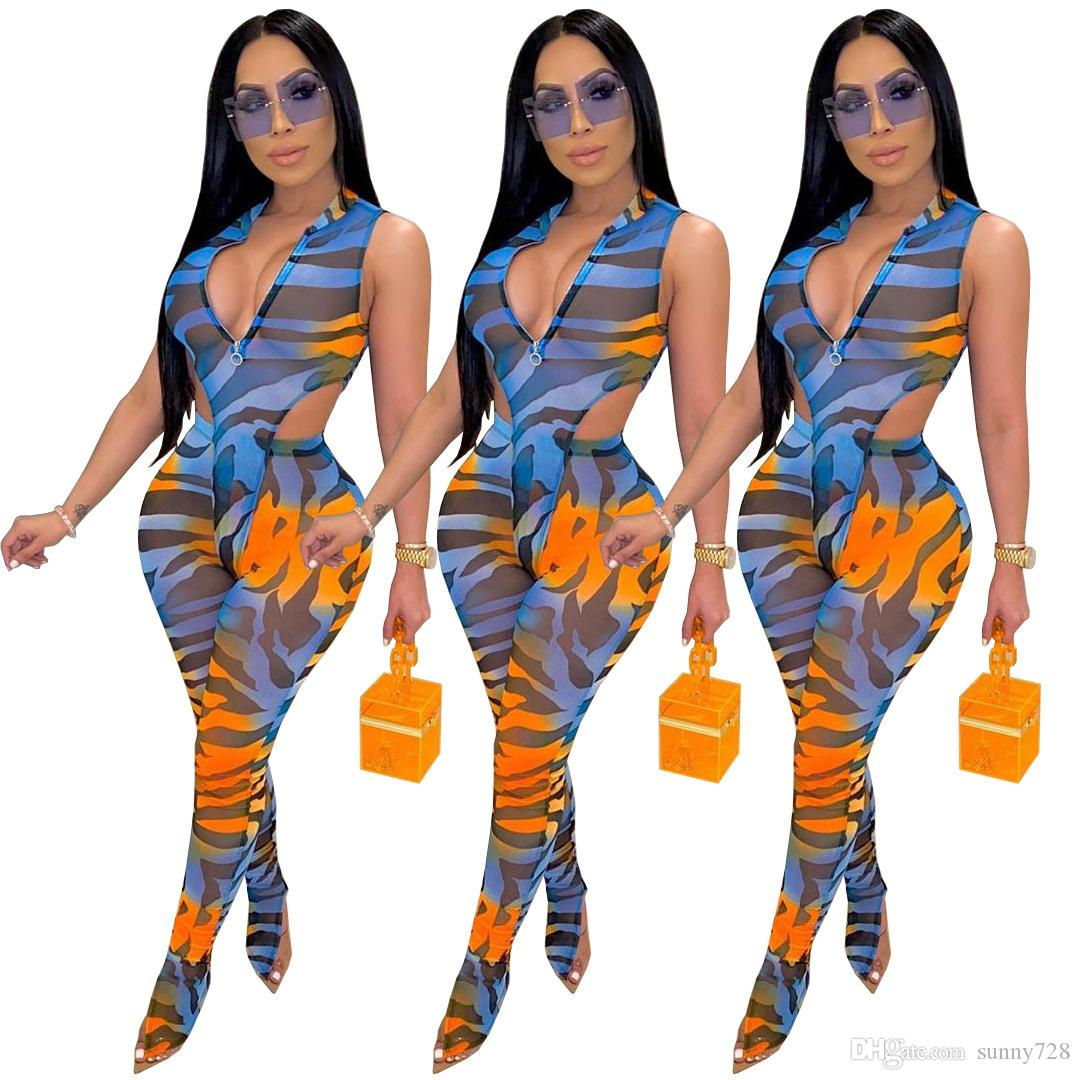Sexy Colorful Women Nightclub Two Pieces Outfits Sheer Mesh Sleeves Top Bodysuit and Pants Hottest Lady Pants Sets with T Shirt
