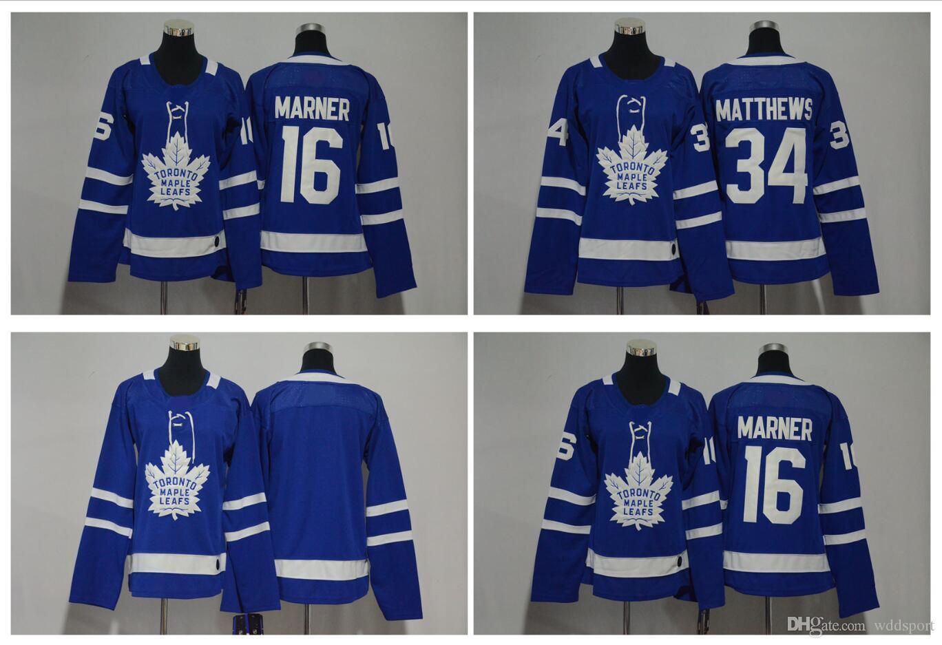 promo code c588d 69b8d 2018 AD Women Toronto Maple Leafs Jersey 34 Auston Matthews 16 Mitch Marner  Blank Blue Stitched Ladies Hockey Jerseys