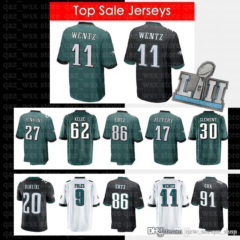 newest d0b87 75c2c 11 Carson Wentz Jersey 10 Jackson Philadelphia Eagles 86 Zach Ertz Super  Bowl 17 Alshon Jeffery 20 Brian Dawkins 9 Foles 20 Dawkins