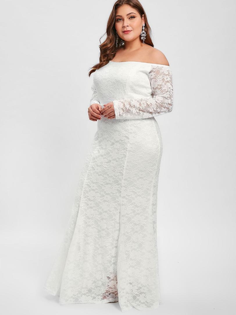 7517e5b62ad Acheter Wipalo 2019 Printemps Femmes De L épaule Plus La Taille Dentelle  Maxi Dress À Manches Longues Solide Moulante Party Dress 5XL De Mariage  Robes De ...