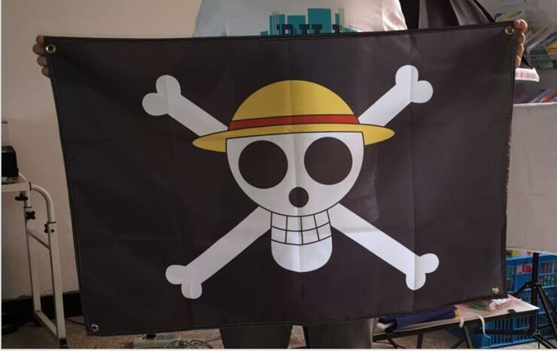 Wohnkultur Flagge 60 * 90 cm One Piece Ruffy Flagge Hohe Qualität Schwarz Piratenflagge Dekoration Polyester Banner Flags