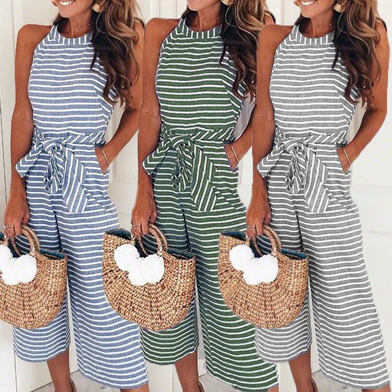 4 color fashion morality with sexy stripes round collar jumpsuits