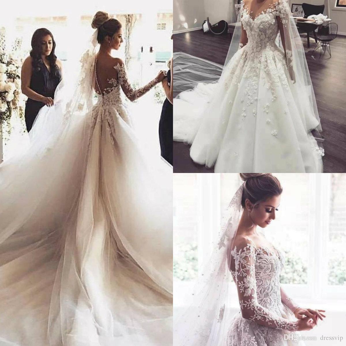 ec70478c2 Compre 2019 Una Línea De Vestidos De Novia Elegante Sheer Jewel Cuello De  Encaje Apliques Vestidos De Novia País Vestidos De Boda De Playa Por  Encargo A ...