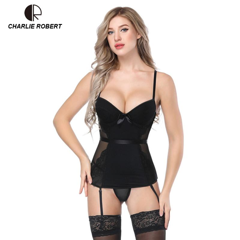 02ce393db 2019 Black Lace Bustier Women Overbust Push Up Corset Sexy Femme Lace Up  Lingerie See Through Corsets Bustiers From Qualityclothes, $27.37 |  DHgate.Com