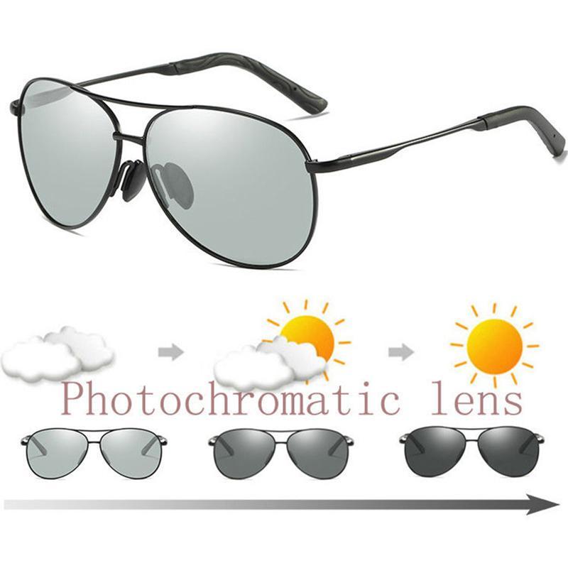 622037ef2e Compre Gafas De Sol Fotocromáticas Polarizadas Lente De Transición Para  Hombre Piloto De Conducción Gafas De Sol Para Hombres Moda UV400 Gafas Con  Gafas ...