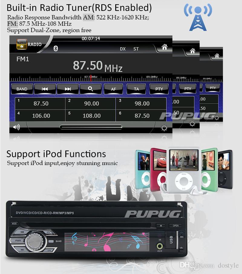 Free Rear Camera+Latest Design Panel Detachable 7`` single din Car DVD Player GPS Navigation in dash car styling Car Stereo radio pc
