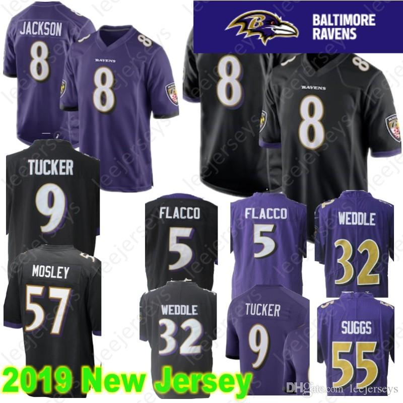 outlet store 2c136 41615 Baltimore 8 Lamar Jackson Ravens Jersey 55 Terrell Suggs 9 Justin Tucker 5  Joe Flacco 32 Eric Weddle 57 C.J. Mosley Stitched Jerseys