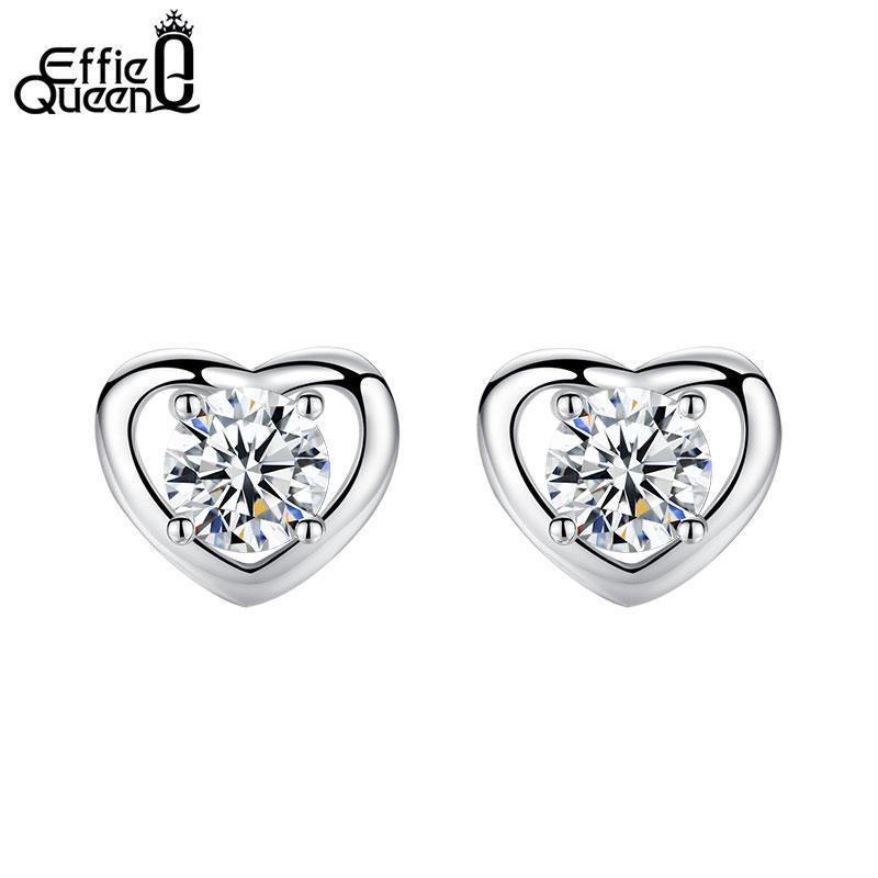 440e505d8 Effie Queen Fashion Stud Earrings with Heart Shape AAA Zircon Silver ...