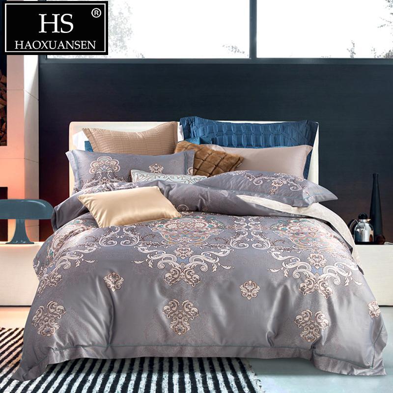 Hs Königin King Size Bettwäsche Grau Blumenmuster 4 Stücke Bettwäsche Sets Digitaldruck Slik Baumwolle Bettbezug Und Bettlaken Set