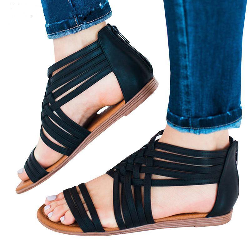 6c960d3a3ec Compre Sandalias Para Mujer 2019 Nuevas Sandalias De Gladiador Para Mujer  Zapatos De Verano Zapatos Planos De Playa Para Mujeres Roma A  29.48 Del  Camelino ...