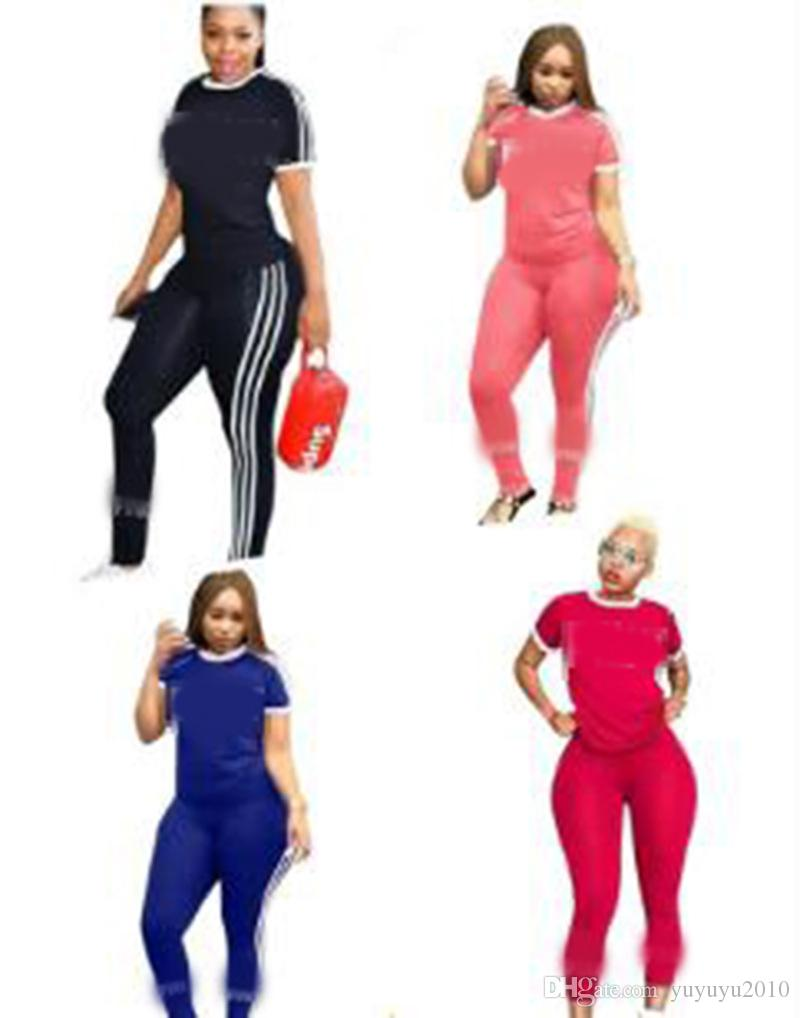 Pink Letter Print Tracksuits Women Two Piece Set 2018 Spring Plus Size T-Shirt Top And Pants Set Suits Casual Bodcon 2 Piece Set onw1045