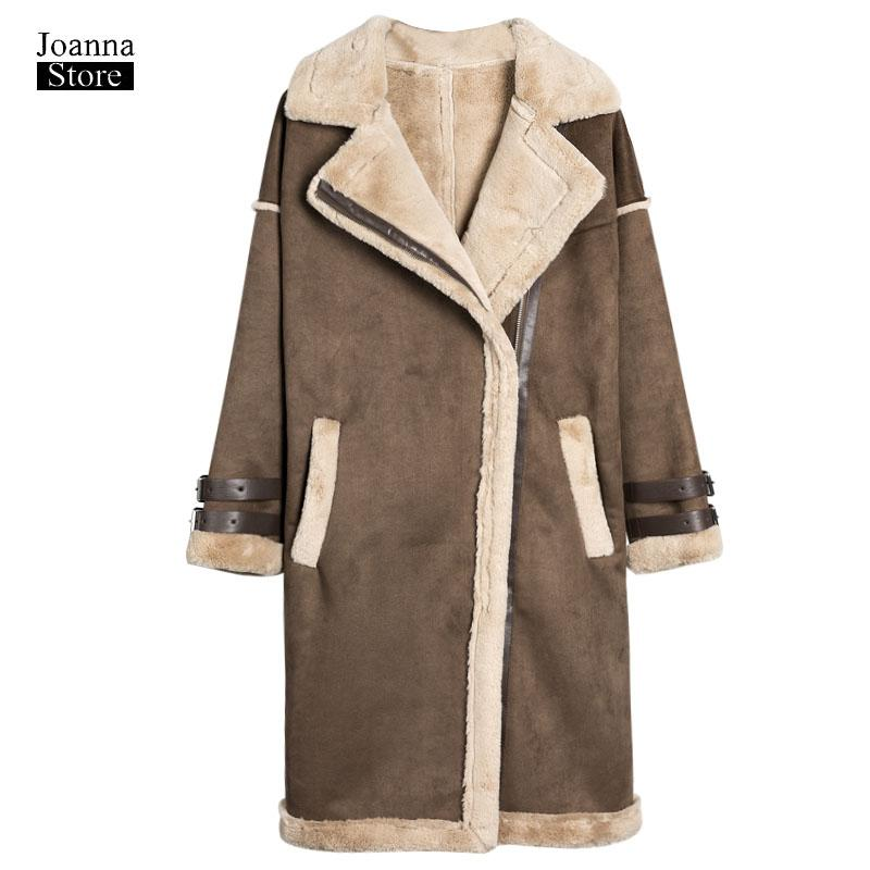 Women Long plus size Coats Warm Thick Velvet Faux Suede Coat Parka ladies Jacket Cotton Outwear vintage Autumn Winter jackets