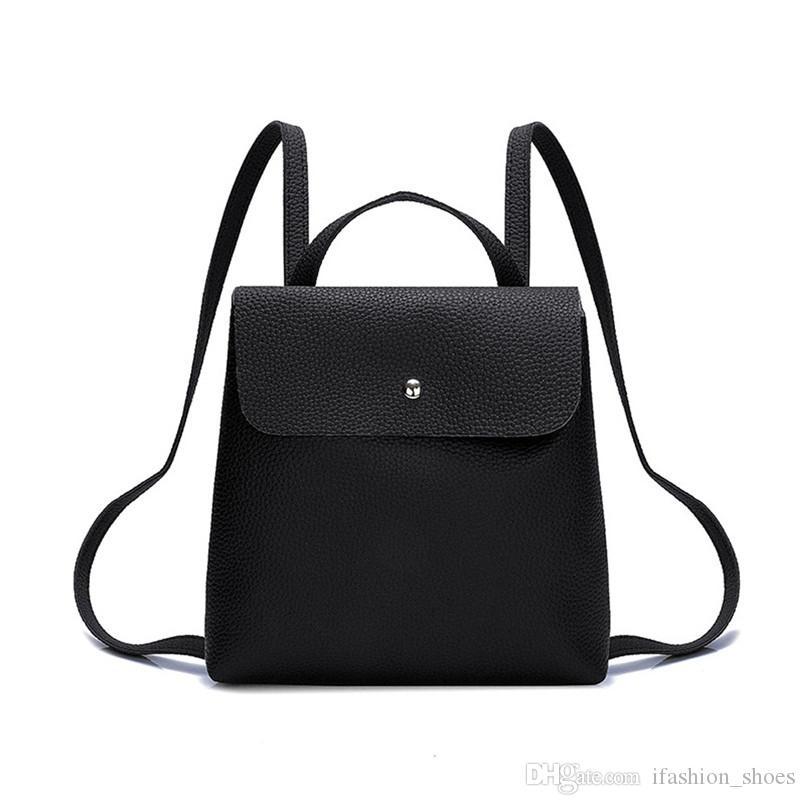 42394e754b42 Women Fashion Pure Color Leather Mini School Bag Backpack Satchel Women  Travel Shoulder Bag Girls Rucksacks Shopping Bags Ladies #33061