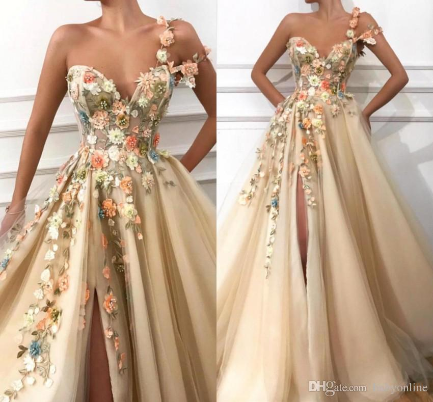e2786b6df8 2019 One Shoulder Tulle A Line Long Evening Dresses 3D Floral Lace Applique  Beaded Split Floor Length Formal Party Prom Dresses BC0684 Evening Dresses  Size ...