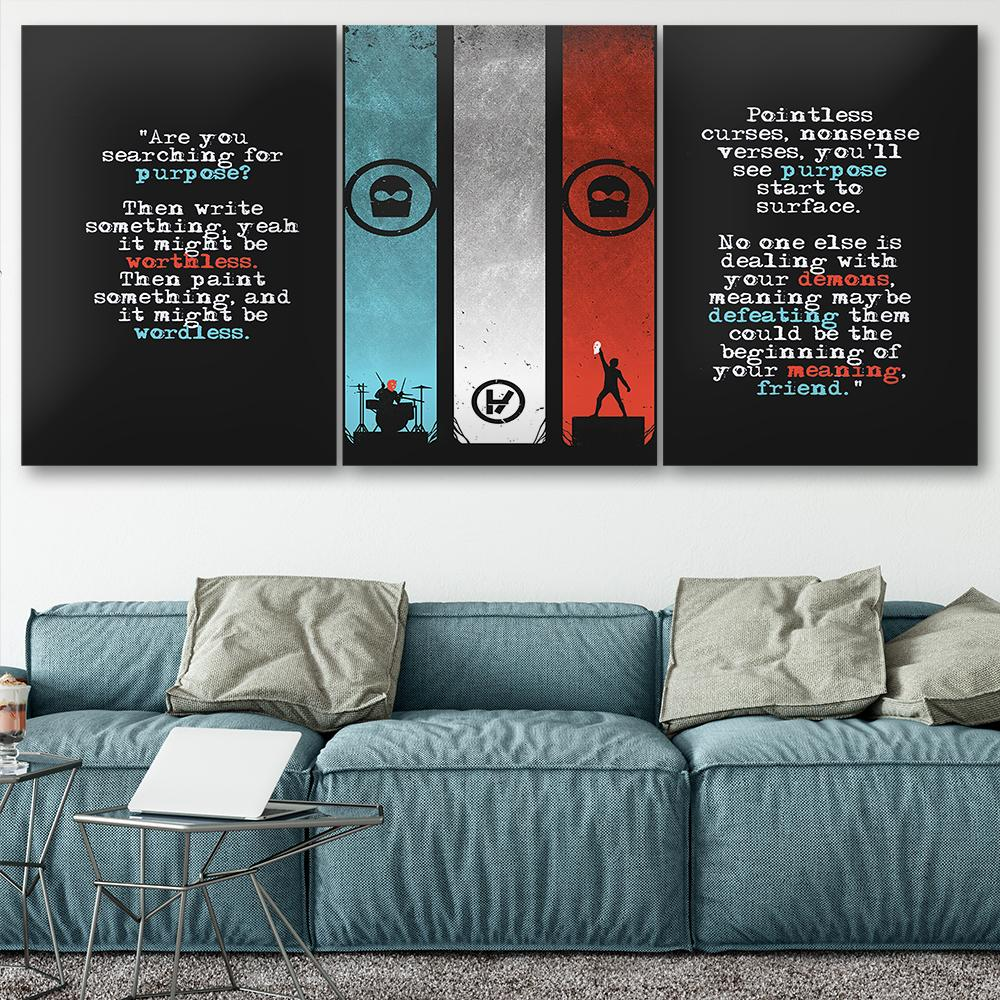 Canvas Poster Home Decor Wall Art Quadro 3 pezzi Twenty One Piloti No4 Dipinti per soggiorno HD Stampe Modern Band Pictures