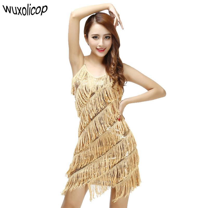 45cb467503 Woman 1920s Vintage Great Gatsby Party Sequin Dress Sexy V-neck Summer Cami  Dress Gold Fringe Dress Vestidos Flapper Costumes Y190514