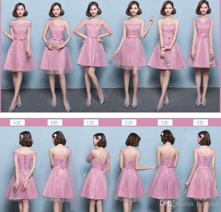 Compre Señoras Vestidos De Dama De Honor Cortos Vestido De Fiesta 6  Diferencia Estilo Hasta La Rodilla Slim XS XXXL Mujer Mini Vestidos De Dama  A  32.12 Del ... 71574e0f605f