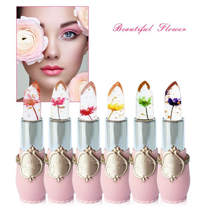 Moisturizer Long-lasting Lipstick Jelly Flower Makeup Temperature Changed Color Lip Blam Pink Pintalabios Transparent