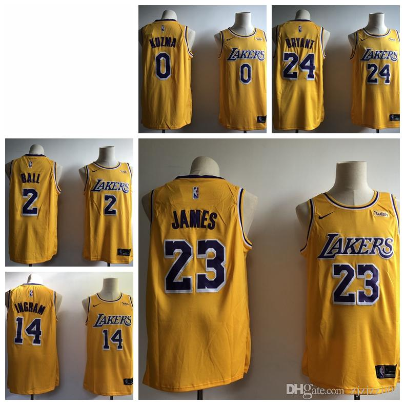 release date ff150 63f8b 23 LeBron James Laker Jersey The City Los Angeles Kobe 24 Lonzo 2 Ball Kyle  0 Kuzma Brandon 14 Ingram Basketball Jersey NEW Yellow black