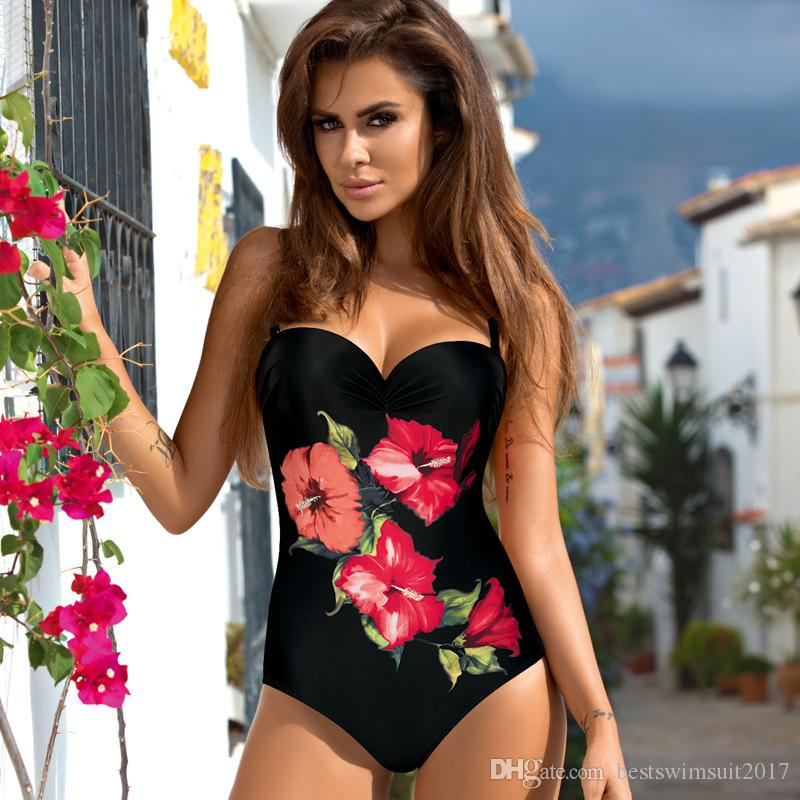 2019 Designer di lusso Flower Print Bikini Push up Costumi da bagno per le donne Beach Swim Wear Costume da bagno One Piece Monokini Swimsuit Lady Beachwear